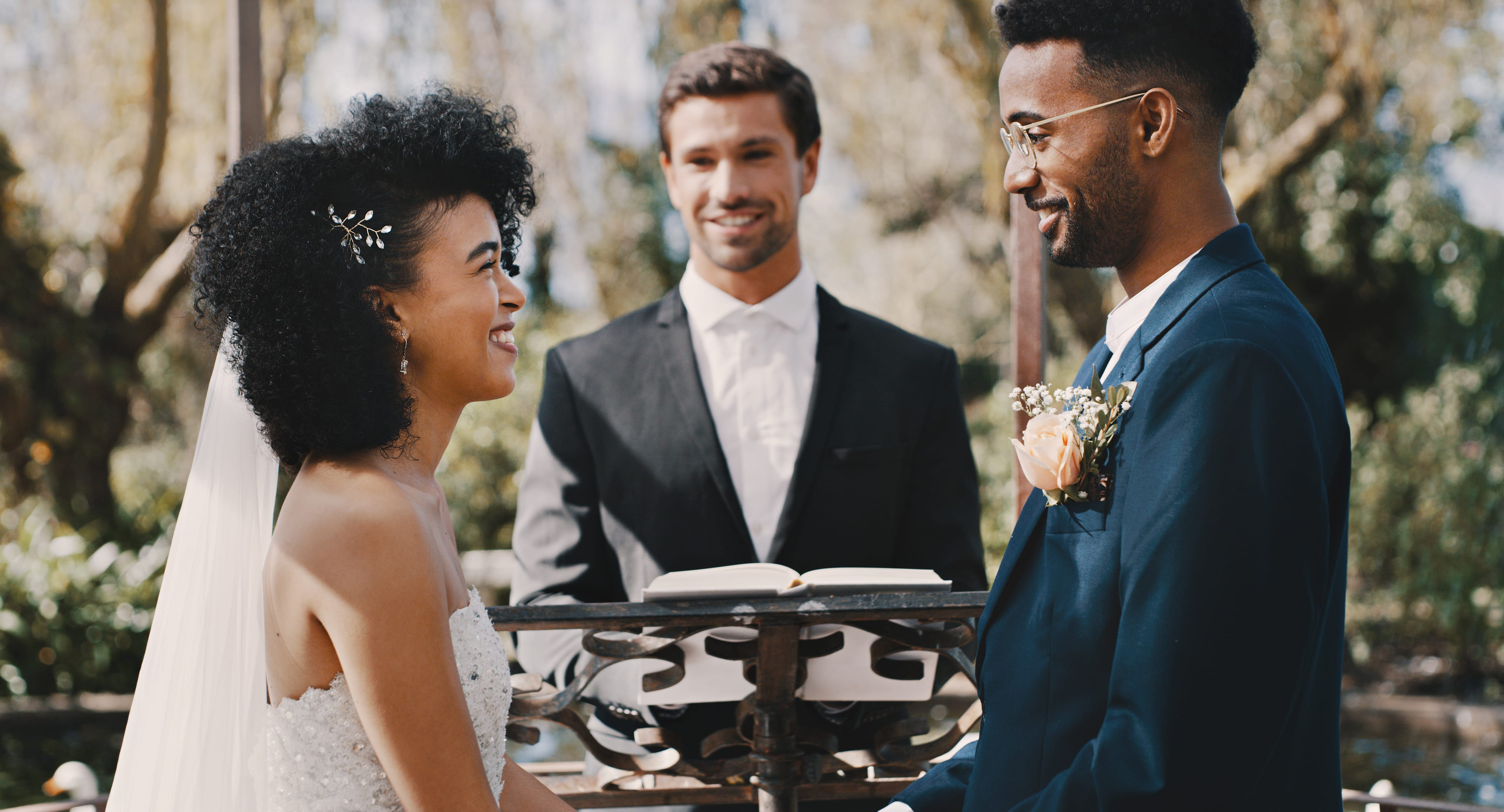 Ordained Minister performing a wedding ceremony